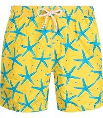 mc2 saint barth graphic-print two-tone swim shorts - yellow