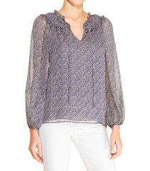 parker women's duncan pebble dot blouse - purple - size xs