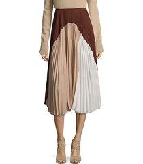 silk colorblock skirt