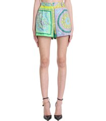versace shorts in green polyester