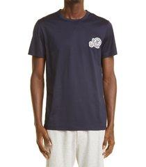 men's moncler double logo patch slim fit t-shirt, size x-large - blue