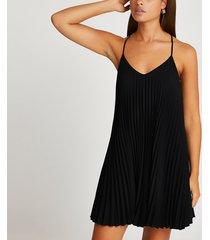 river island womens black pleated sleeveless mini slip dress