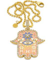 large pink enamel hamsa pendant