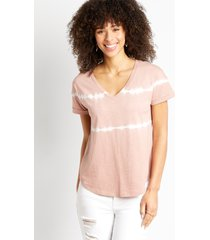 maurices womens 24/7 light pink tie dye drop shoulder classic tee brown