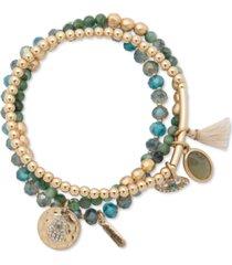 lonna & lilly gold-tone evil eye & hamsa hand beaded stretch bracelets