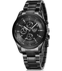 reloj cuarzo casual acero inoxidable bsk12 color negro