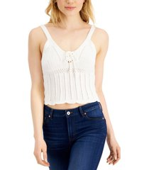 crave fame juniors' lace-up sweater top