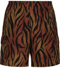 palm angels tiger print swim short - brown