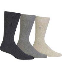 men's polo ralph lauren 3-pack crew socks, size one size - grey
