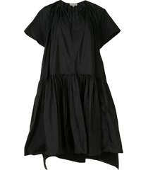 delpozo oversized-fit tiered dress - black