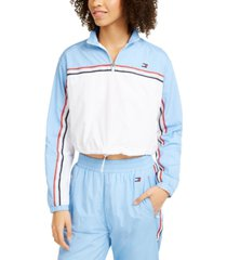 tommy hilfiger sport colorblocked half-zip crinkle top