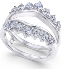 diamond tiara solitaire enhancer ring guard (1-3/8 ct. t.w.) in 14k white gold