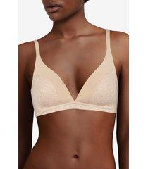 women's chantelle lingerie norah wireless bra, size large - beige
