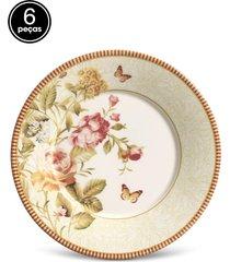 conjunto 6pçs pratos de sobremesa porto brasil mônaco mirabell branco/vermelho