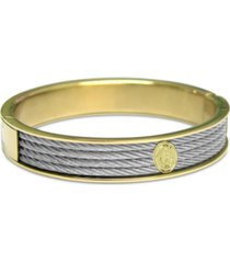 cable two-tone bangle bracelet in stainless steel & gold-tone pvd stainless steel