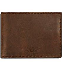 men's shinola navigator leather wallet - brown