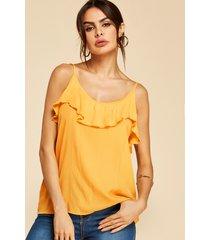 yoins amarillo con gradas diseño redondo cuello cami