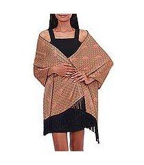 batik silk shawl, 'land of bali' (indonesia)