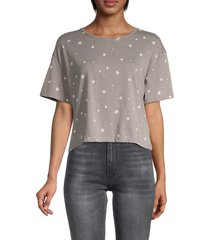 alternative women's print crop top - grey star - size xs