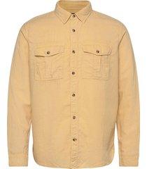 linen-cotton utility shirt jacket overhemd casual geel gap