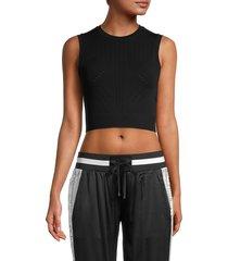 blanc noir women's infinity knit crop top - black - size l
