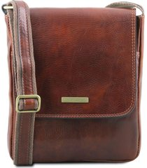 tuscany leather tl141408 john - borsello da uomo in pelle con zip frontale marrone