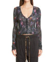 women's r13 floral distressed crop cashmere cardigan, size medium - black