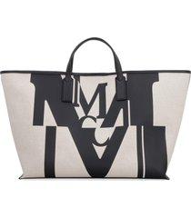 mcm canvas tote bag