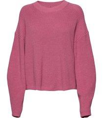 galia crew neck 11016 stickad tröja rosa samsøe & samsøe