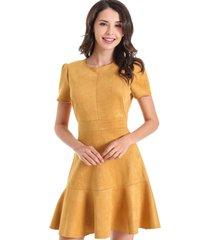 vestido gode tipo gamuza amarillo nicopoly