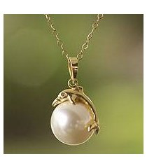 gold plated and faux pearl pendant necklace, 'dolphin joy' (mexico)