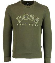 hugo boss pullover salbo olijf met logo 50418718/303