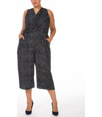 black tape plus size printed textured cropped wrap jumpsuit