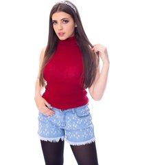 blusa cacharrel moda vício regata gola alta tricô vermelho