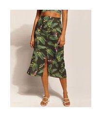 saia feminina emi beachwear midi estampada bananeiras verde escuro