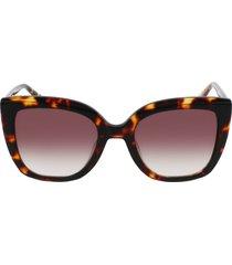 longchamp le pliage 53mm gradient rectangular sunglasses in dark havana/brown at nordstrom