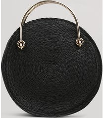 bolsa feminina redonda média transversal de palha preta