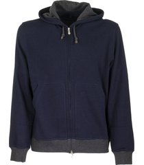 brunello cucinelli techno cotton zip-front hooded sweatshirt
