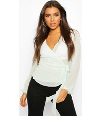 wrap over dobby mesh blouse, sage