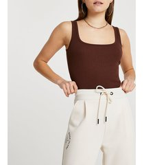 river island womens brown square scoop neck fitted tank top