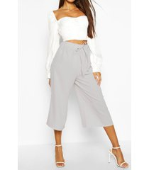 basic tie waist woven crepe culottes, grey