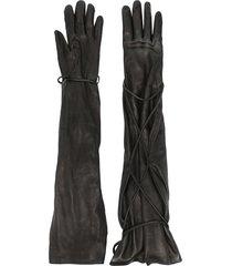 vejas tie-fastening leather gloves - black