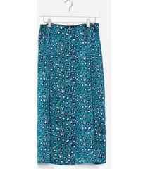 womens animal print split leg midi skirt - green