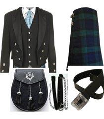 scottish wedding package black watch tartan kilt black prince charlie coat