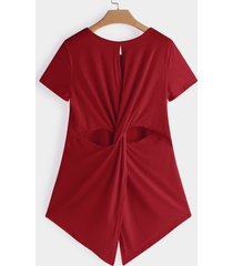 red cut out crew neck short sleeves crossed back t-shirts