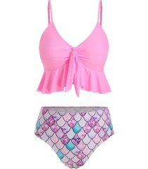 flounce knot scale print mermaid tankini swimsuit