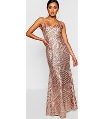 mesh maxi jurk met bandjes en pailletten, rose