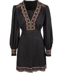 etro anthracite grey short dress with jacquard profiles carpet pattern
