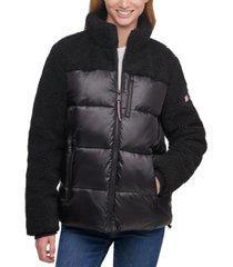 tommy hilfiger fleece-detail puffer coat
