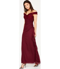 betsy & adam petite lace off-the-shoulder gown